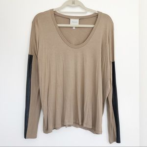 BRAND NEW!! Michelle Mason Leather Sleeve Top